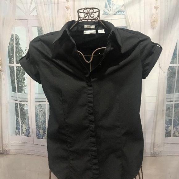 17ad2a4f Liz Claiborne Tops - LIZ CLAIBORNE Black Short Sleeve Button Shirt S